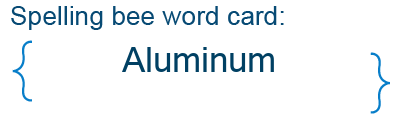 Spelling bee statistics for Aluminum
