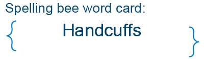 Spelling bee statistics for Handcuffs