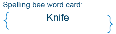 Spelling bee statistics for Knife