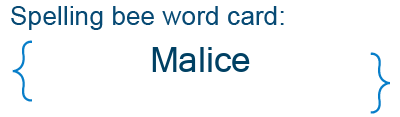 Spelling bee statistics for Malice