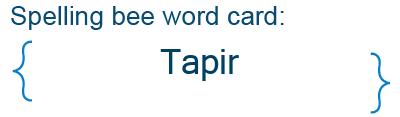 Spelling bee statistics for Tapir
